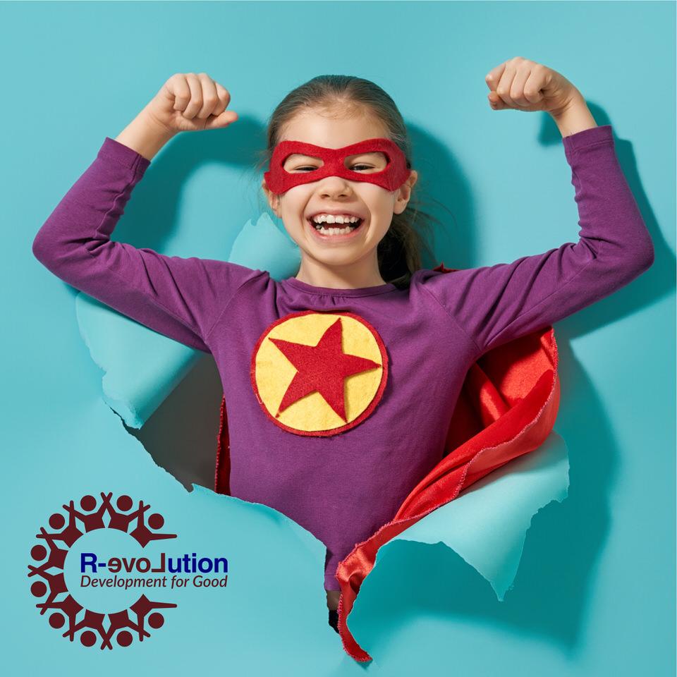 Training in Moray - Young superhero burst through blue paper